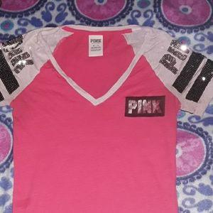 PINK- V-Neck T-shirt
